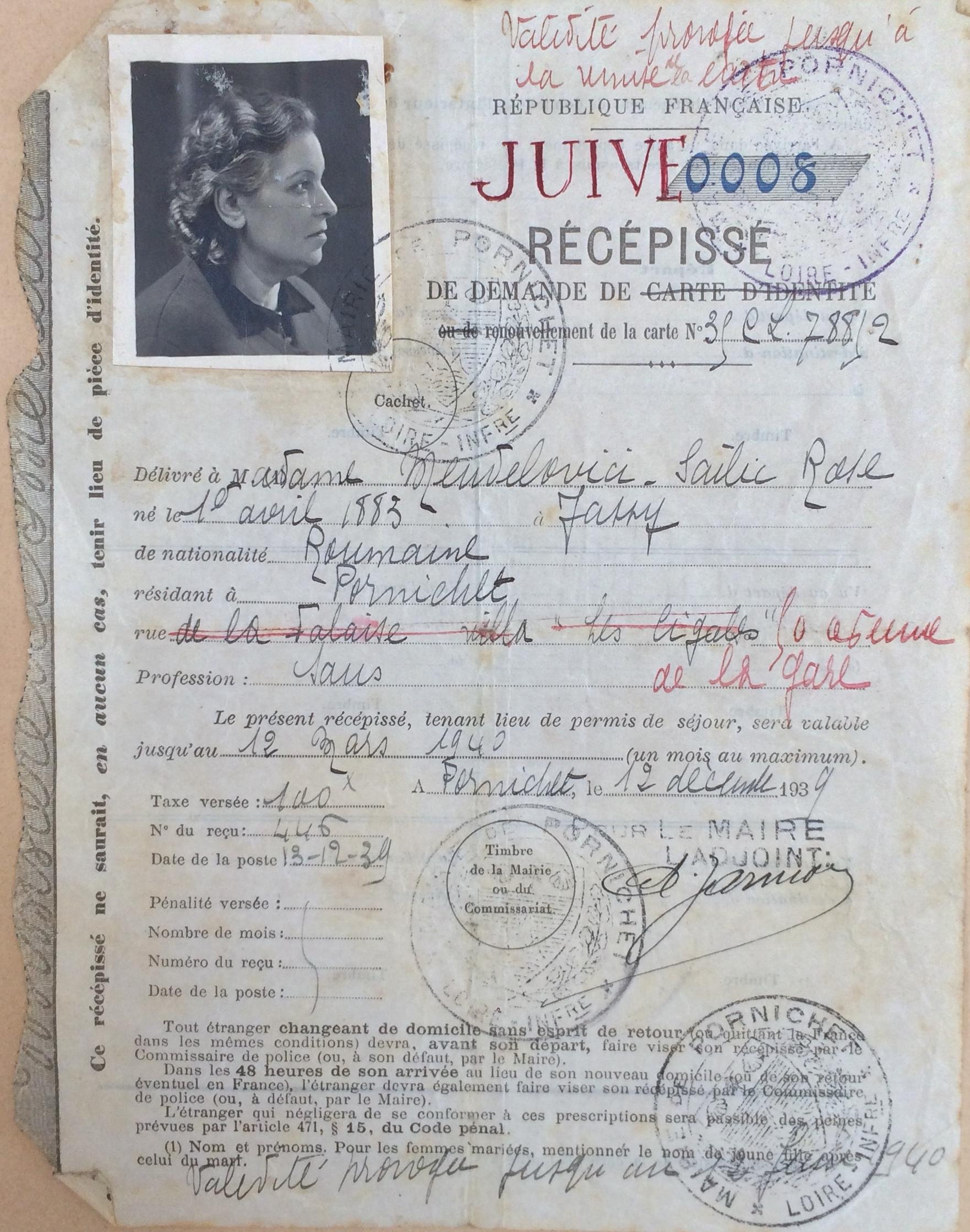 Dossier d'étranger de Rose MENDELOVICI ADLA 4M946