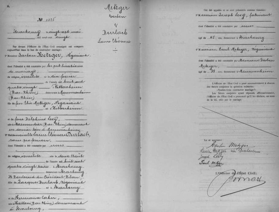 Acte de mariage [Archives Départementales du Bas-Rhin, 2 E 254]