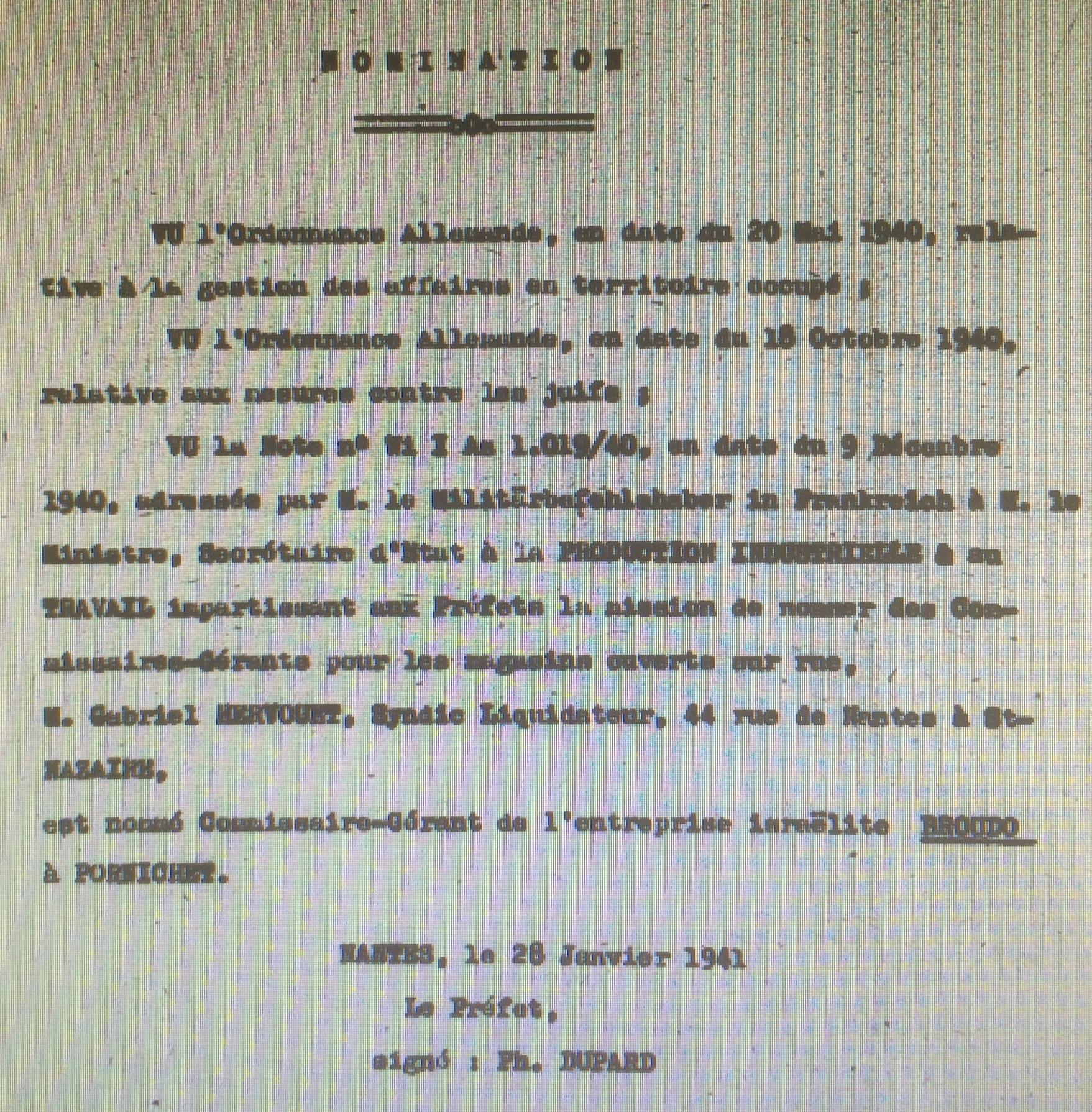 Dossier d'aryanisation Salomon BROUDO [AN AJ38/4598 dossier n°2529]