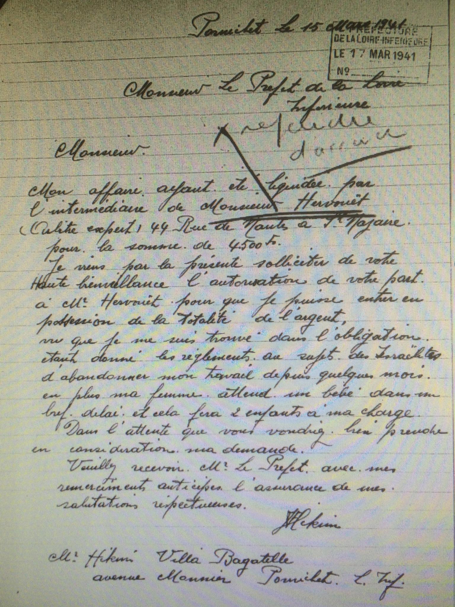 Dossier d'aryanisation de David dit Fernand HIKIM [AN AJ38/4598 dossier n°2533]