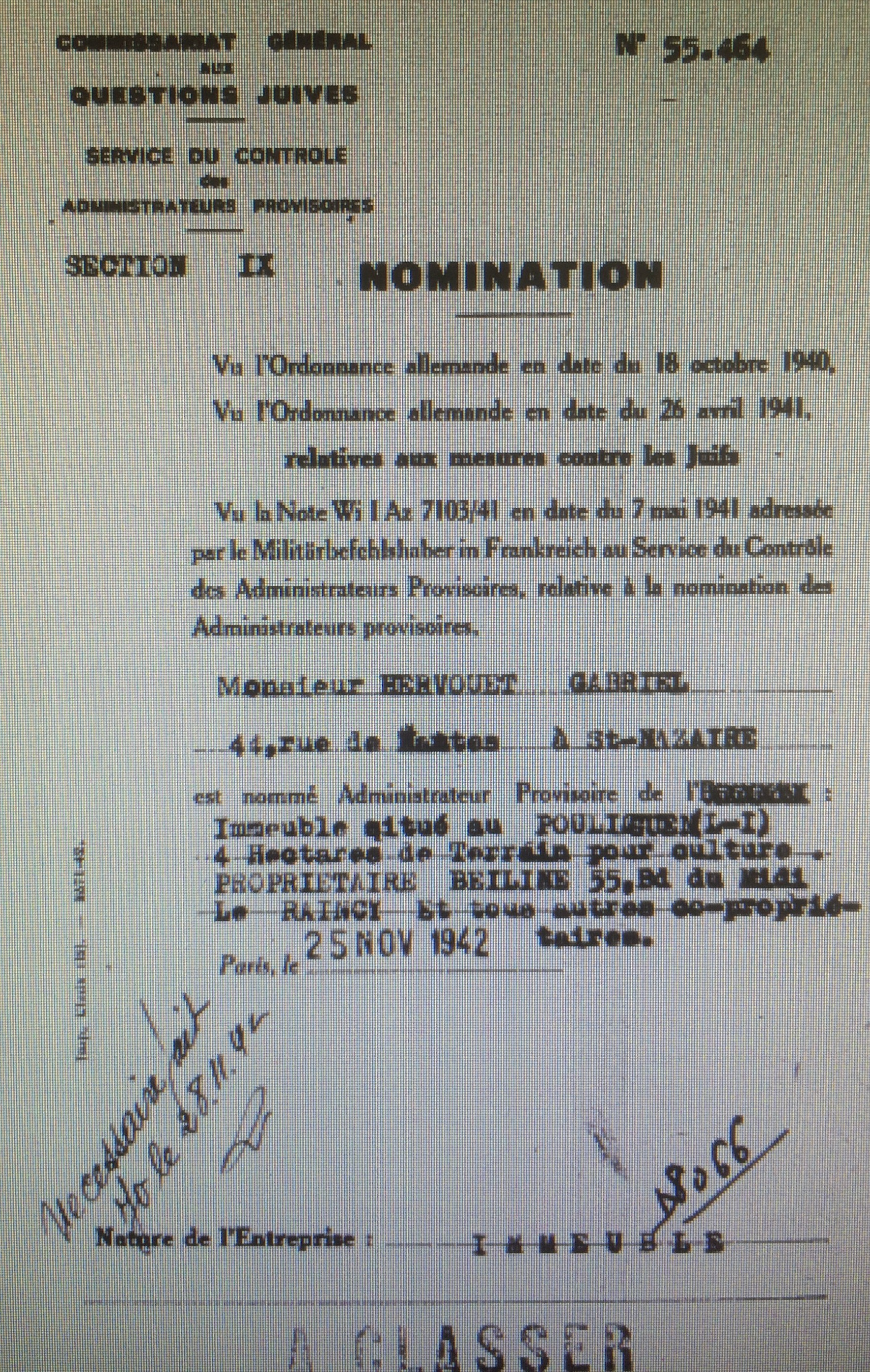Dossiers d'aryanisation de Nathan BEILIN [Archives Nationales, AJ/38/4599 dossier n° 7077 et AJ38/4600 dossier n°8066