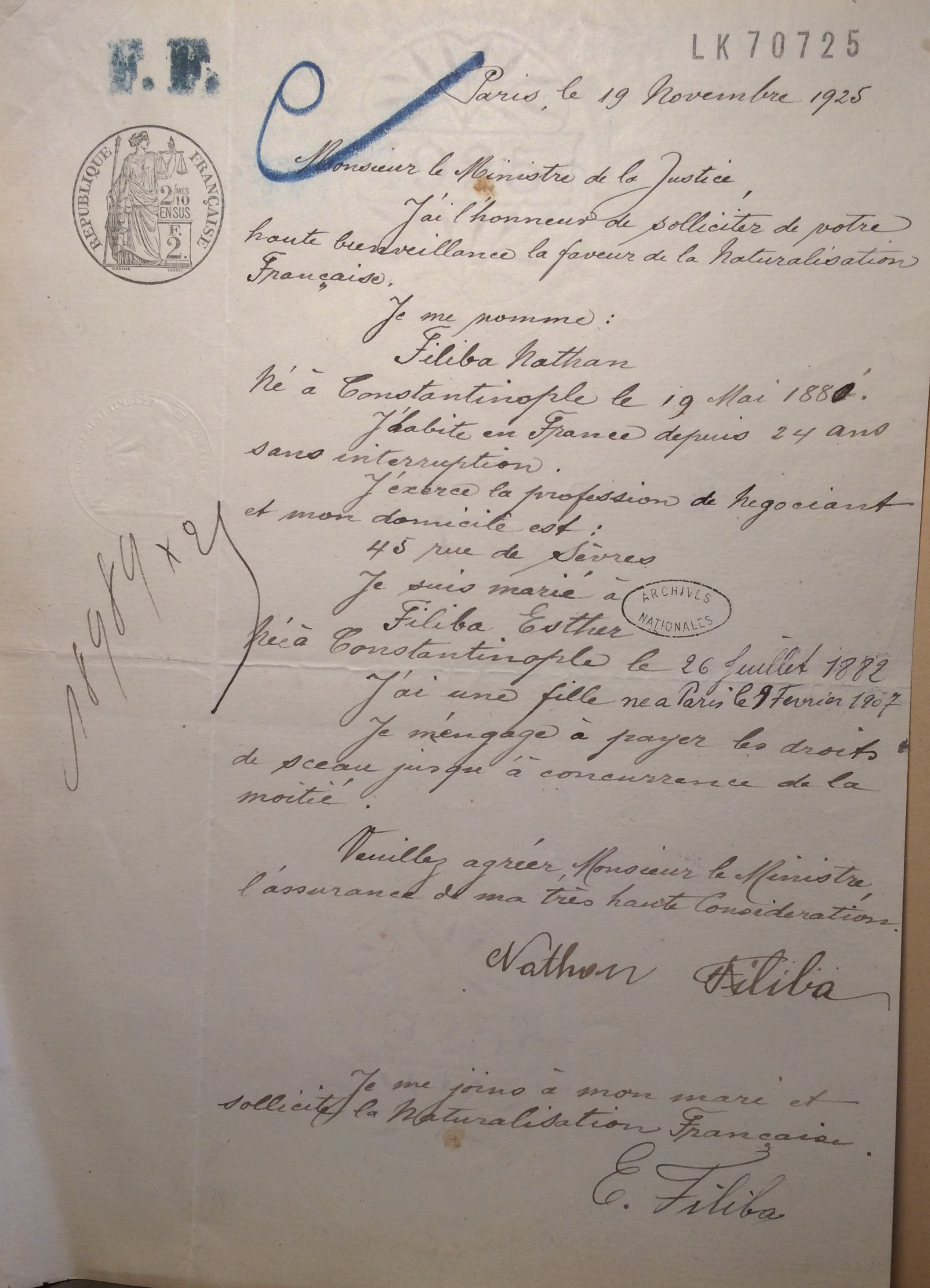 Dossier de naturalisation de Nathan FILIBA [Archives Nationales, 18989X25]