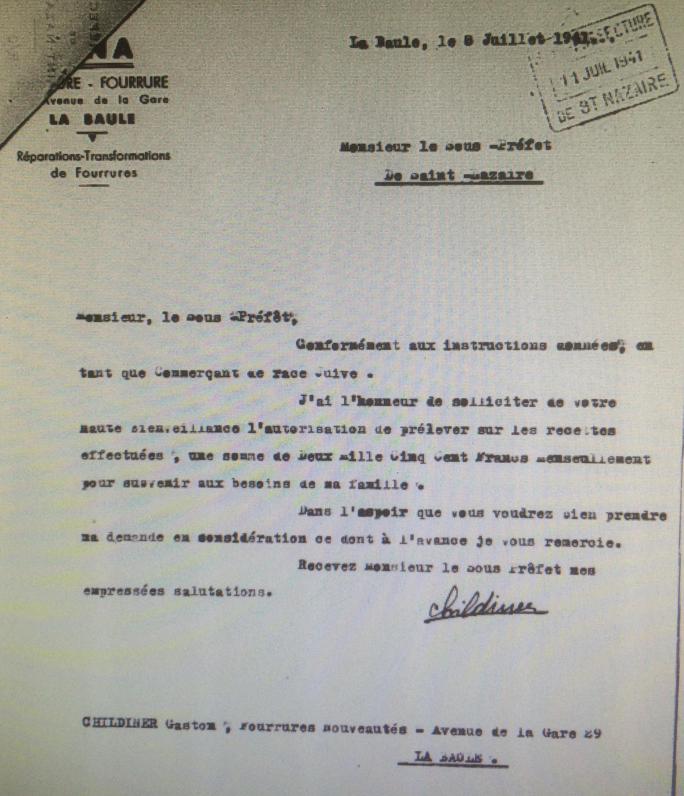 Dossier d'aryanisation CHILDINER Gaston [AN AJ38/4598 dossier n°2719]