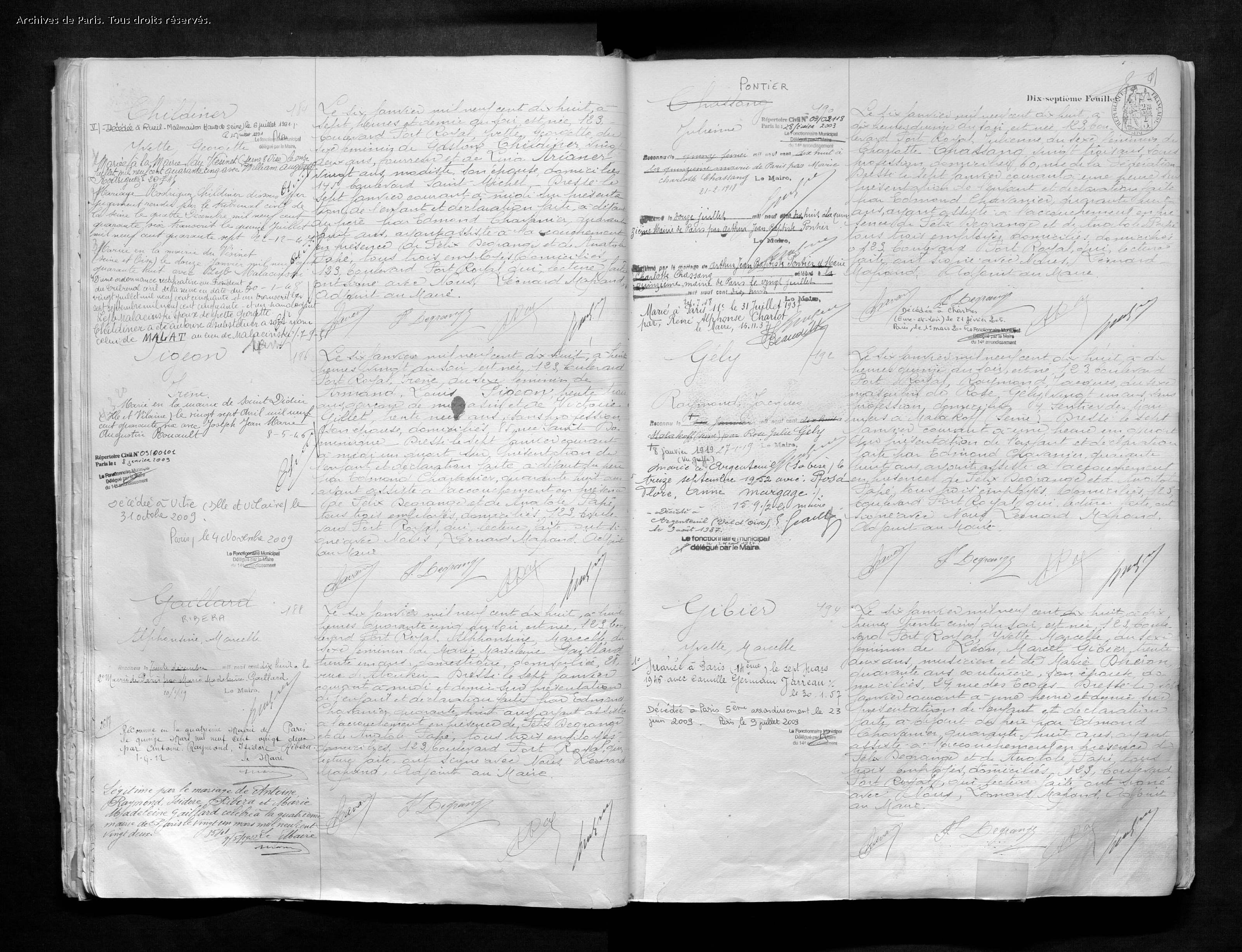 Acte de naissance de Yvette CHILDINER [Archives de Paris, 14N554]