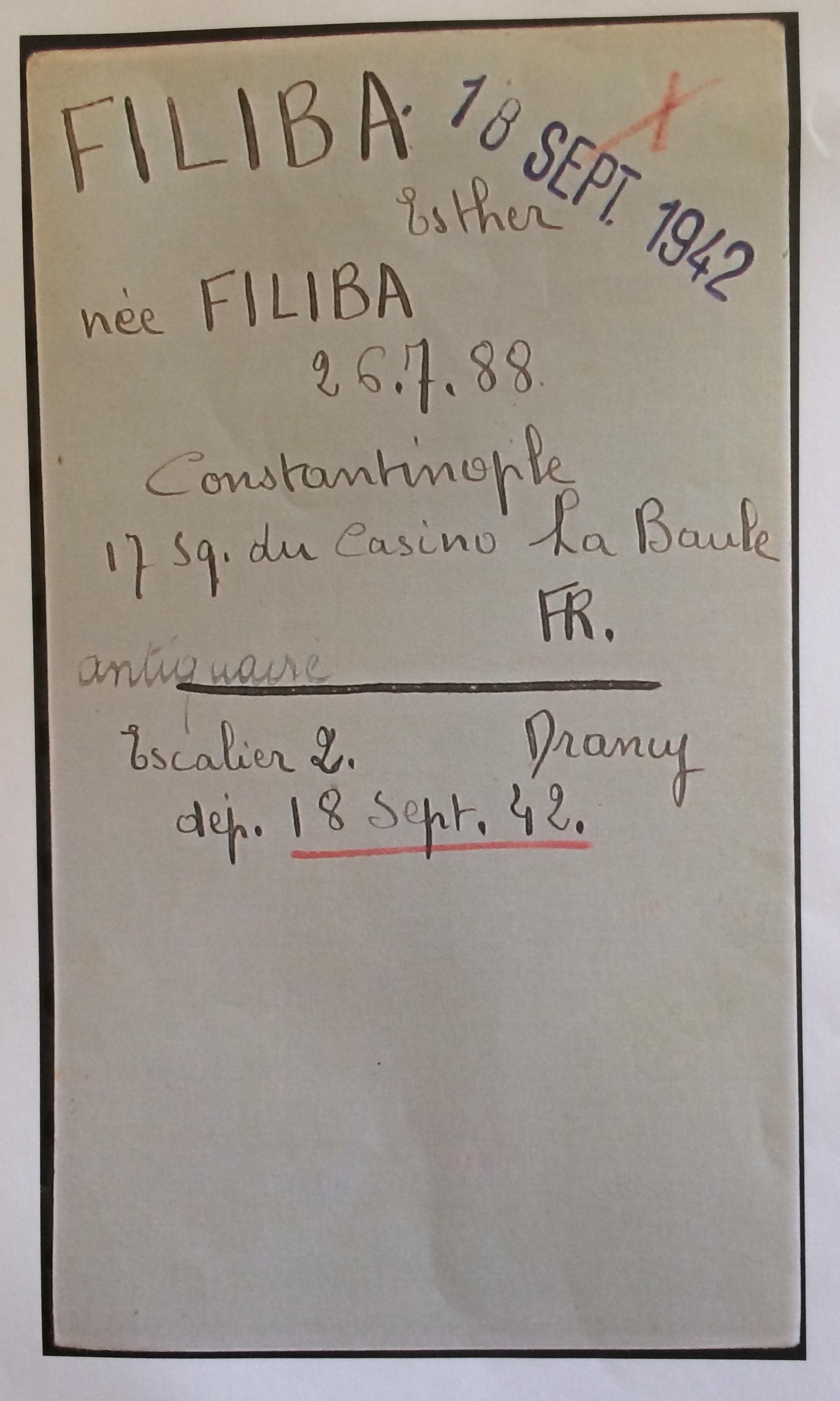Fiche d'internement camp de Drancy [Archives Nationales, F9/5691]