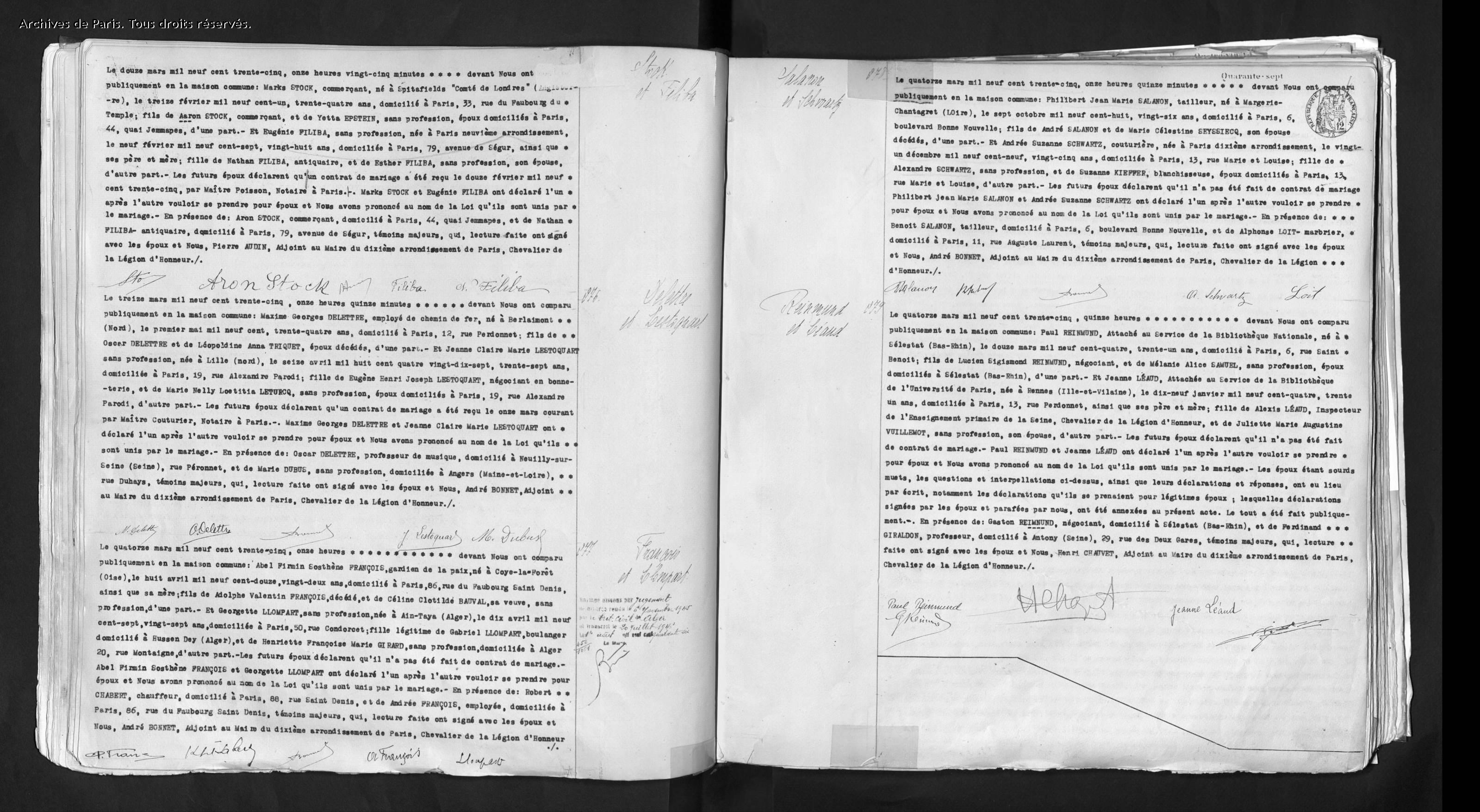 Acte de mariage d'Eugénie et Marks STOCK [Archives de Paris, en ligne]
