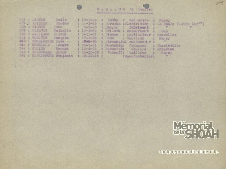 Liste convoi 13 Pithiviers Auschwitz [CDJC, Mémorial de la Shoah, Paris, en ligne]