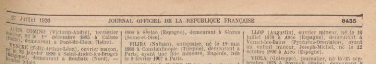 JORF 27 juillet 1926