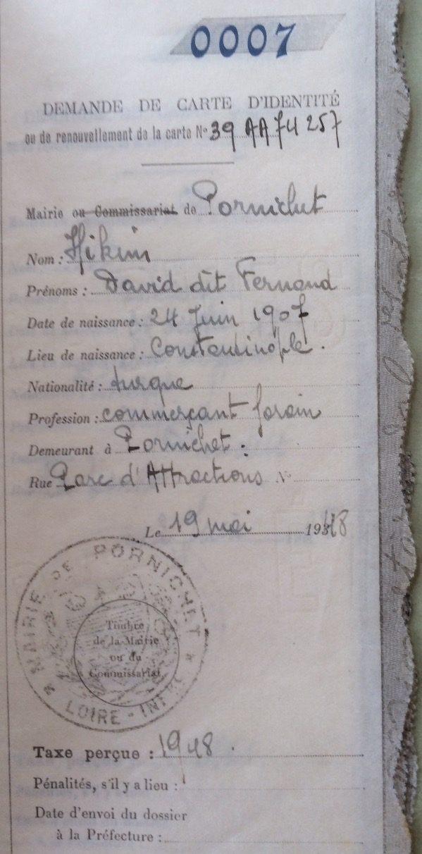 Récépissé de demande de carte d'identité [Archives Municipales de Pornichet, 2J6]