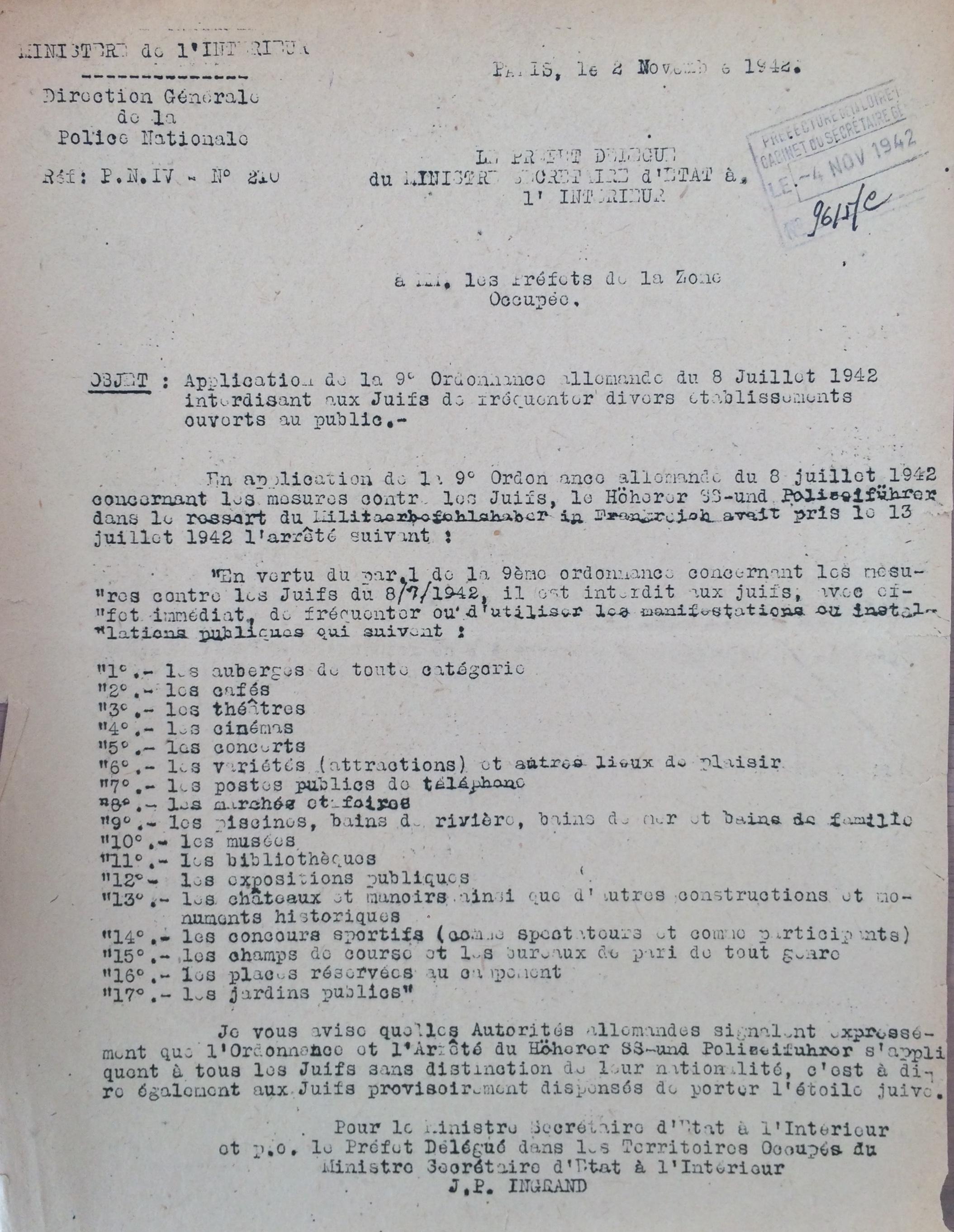 Le secrétaire d'Etat à l'Intérieur aux Préfets de la zone occupée 08 juillet 1942 [ADLA 1694W20]