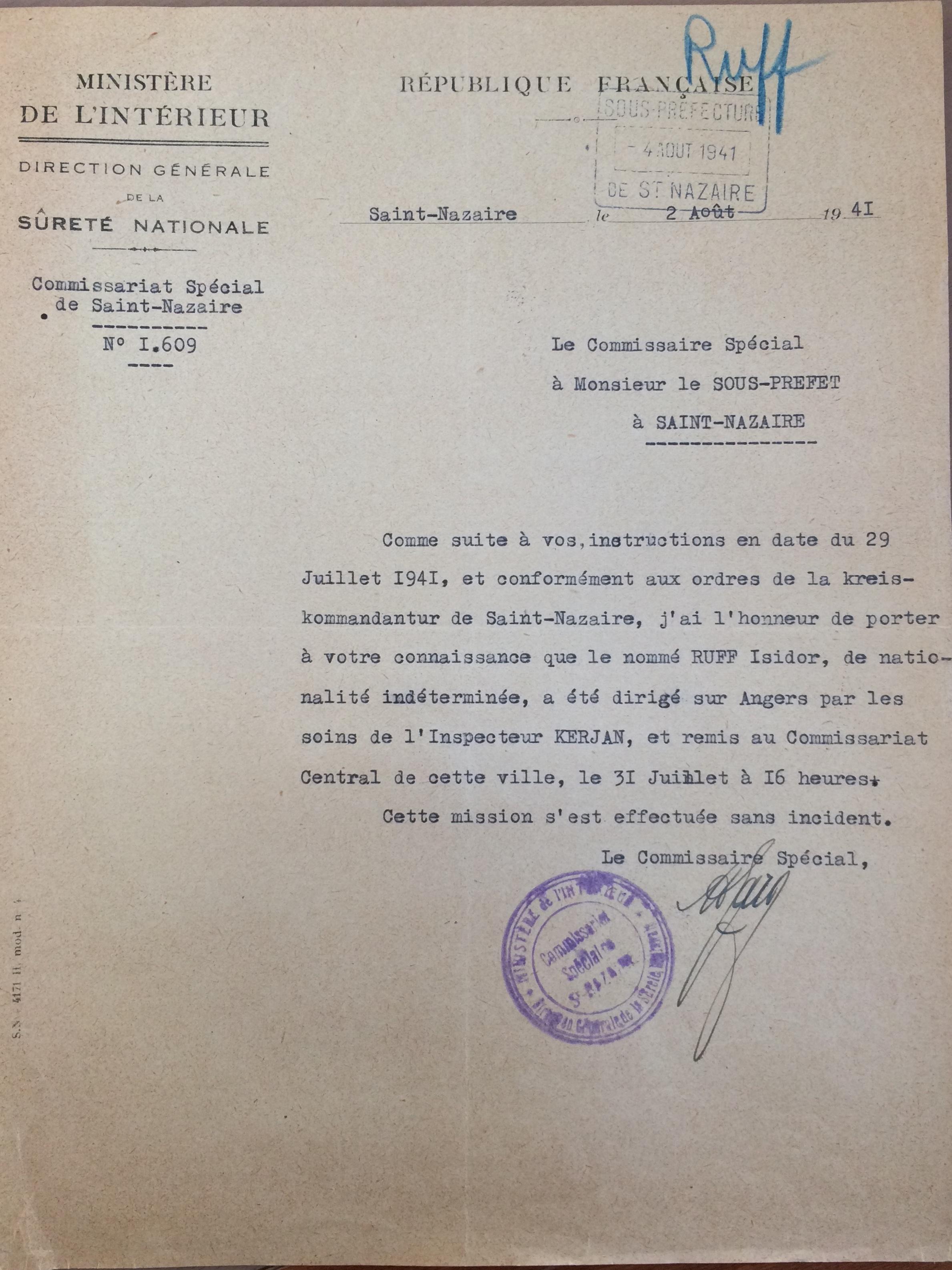 Police de Saint-Nazaire [ADLA 1803W107]