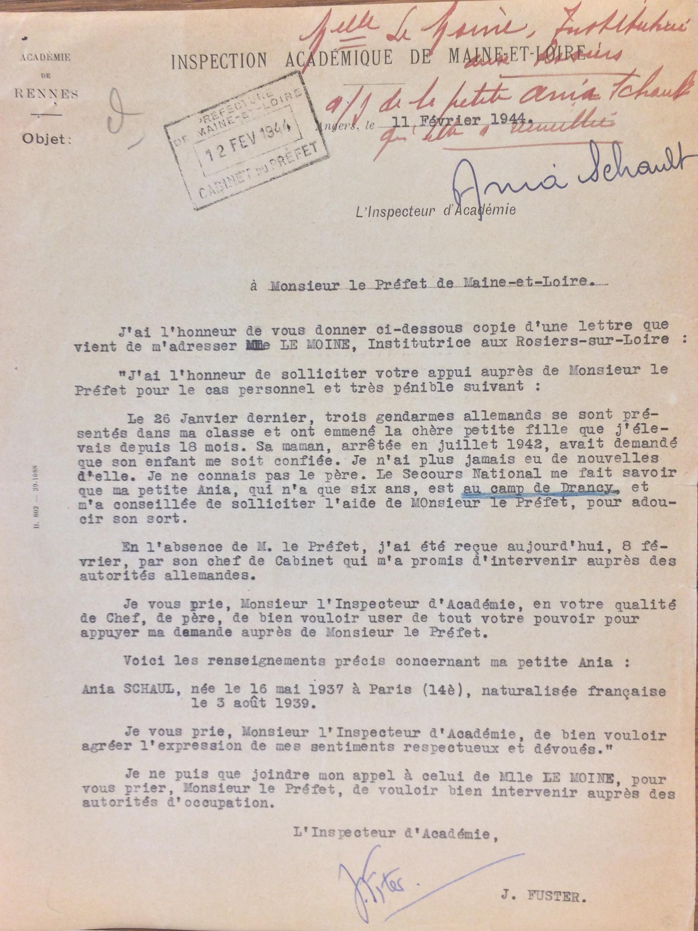 Lettre de J. Fuster, inspecteur d'académie au Préfet du Maine-et-Loire [ADML 303W294]