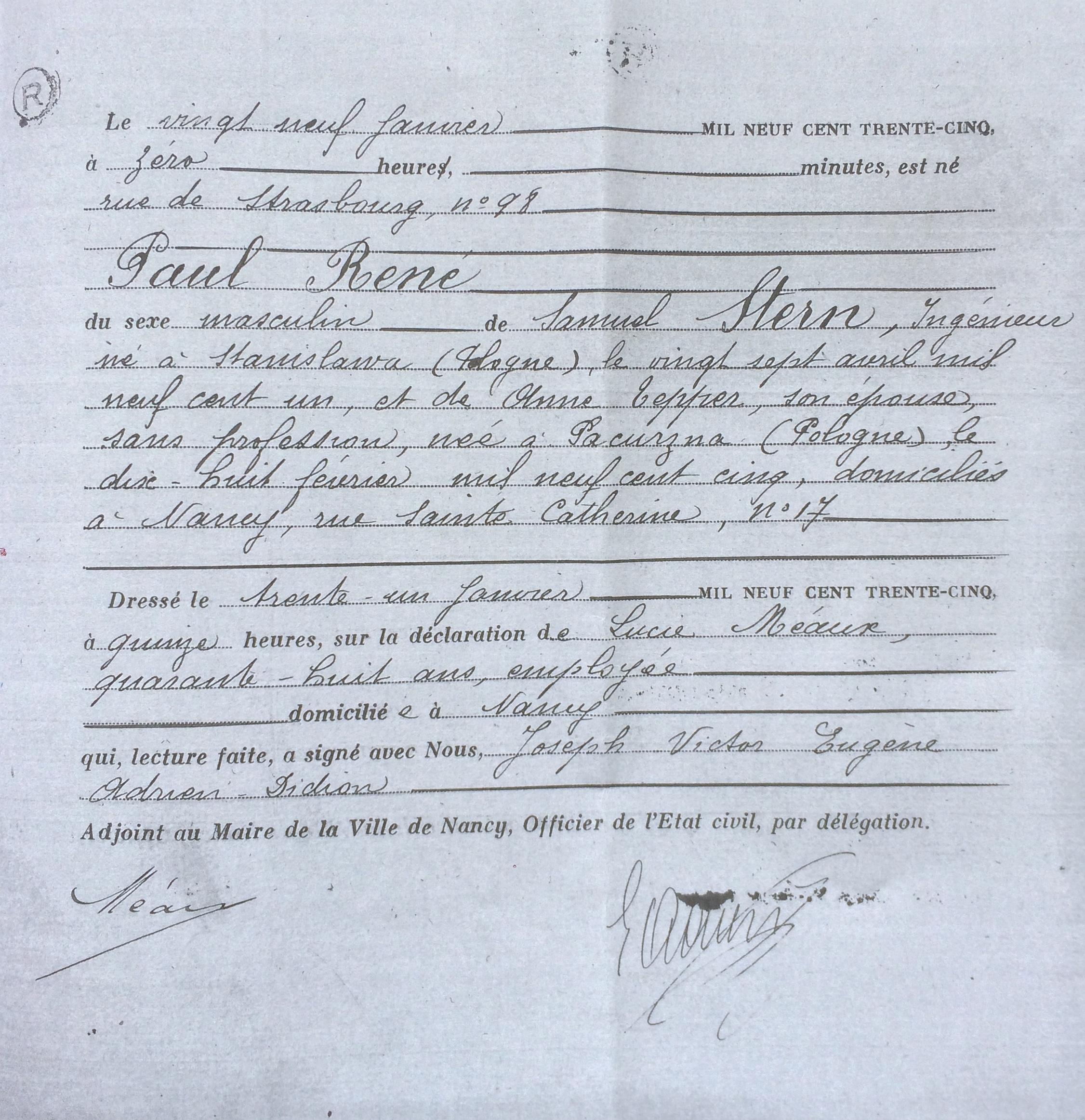 Acte de naissance de Paul STERN [Archives Municipales Etat Civil Ville de Nancy]