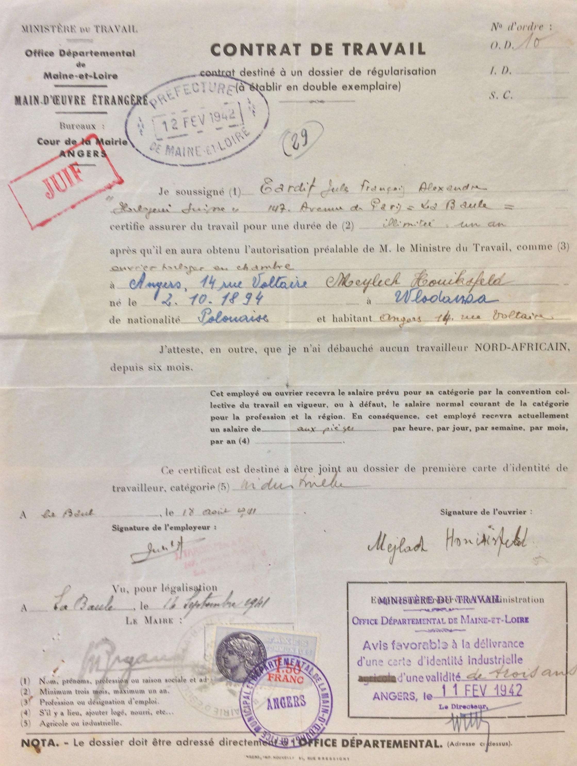 Contrat de travail rédigé par Jules TARDIF pour le compte de Meilach HONIKSFELD [ADML 120W61]