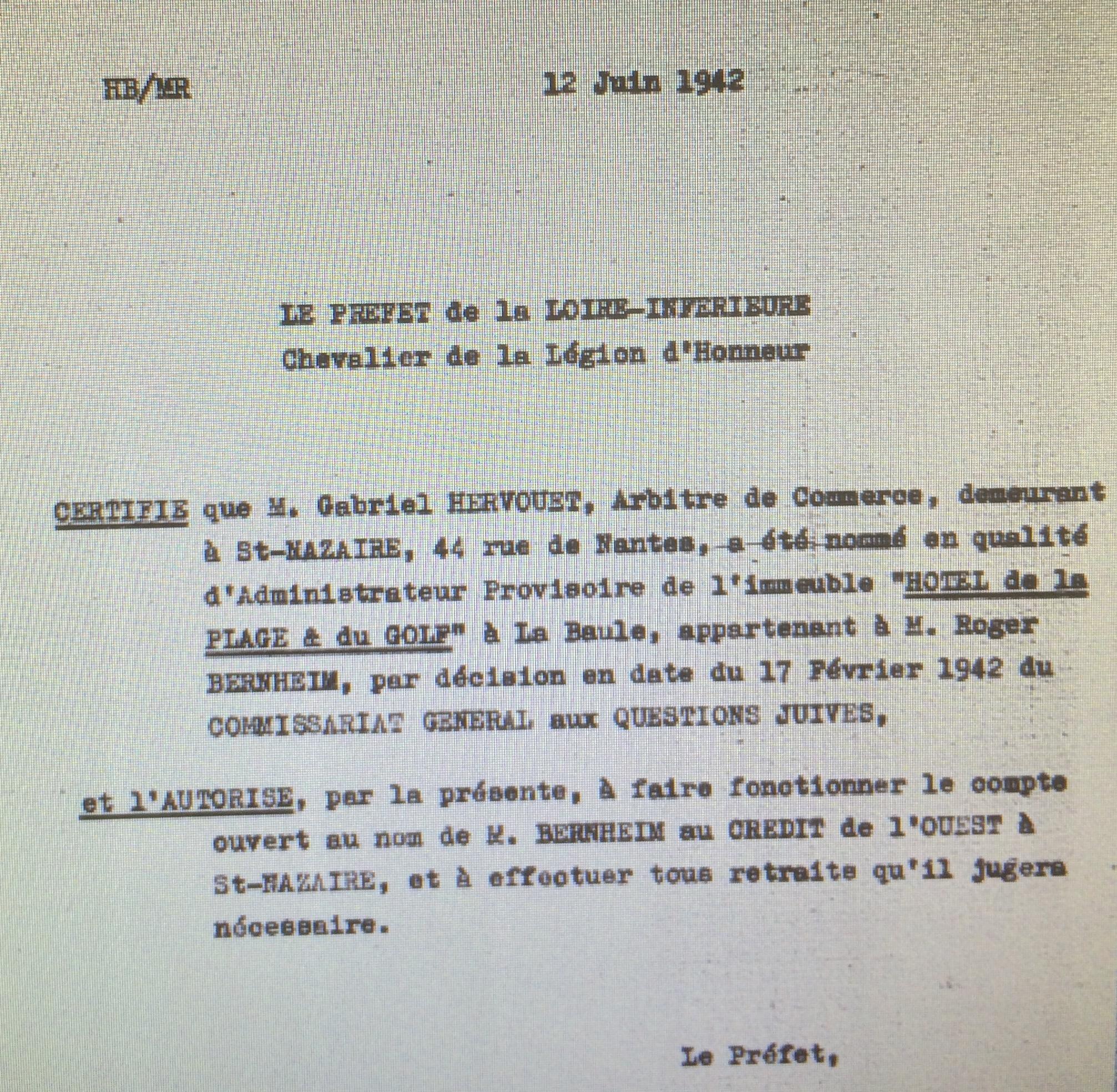 Dossier d'aryanisation de l'Hôtel de la Plage et du Golf [Archives Nationales, AJ38/4600 dossier n°8725]
