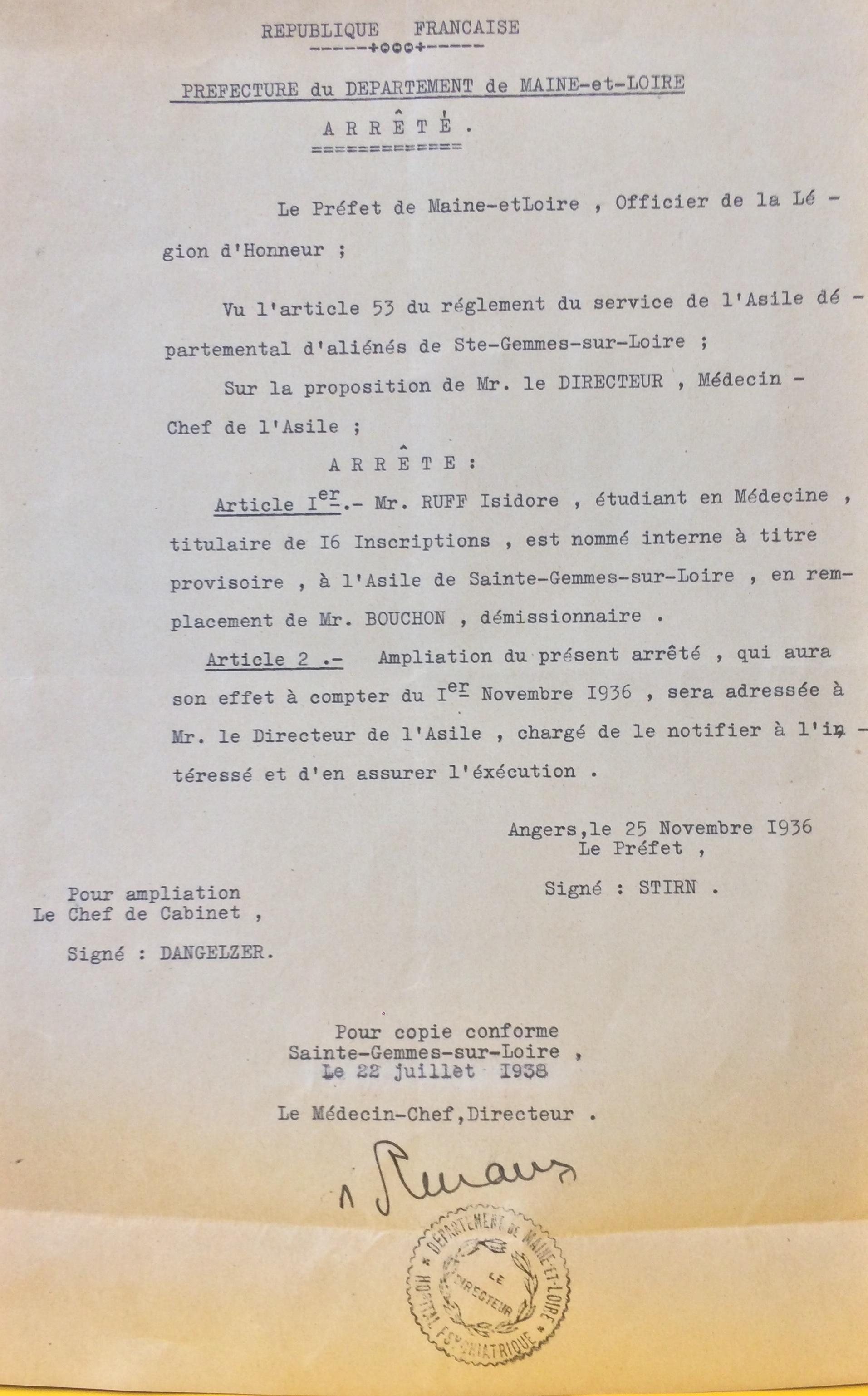 Arrêté de nomination d'Isidore RUFF comme interne en psychiatrie à l'Asile Psychiatrique de Sainte-Gemmes-sur-Loire [ADML 120W63]