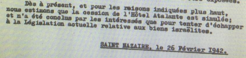 Dossier d'aryanisation de l'Hôtel Atalante [AN AJ38/4598 dossier n°2526]