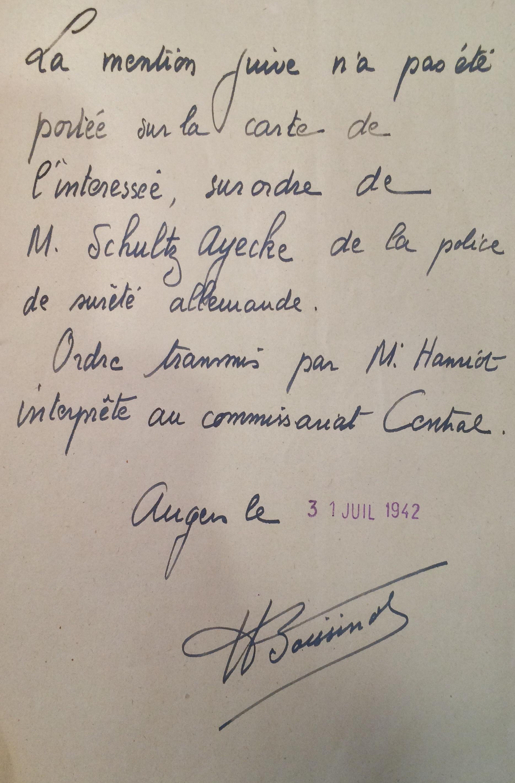 Dossier d'étranger de Jacqueline BESSO [ADML 120W58]