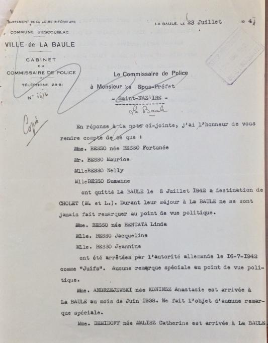 Commissariat de Police de La Baule [ADLA 1803W107]