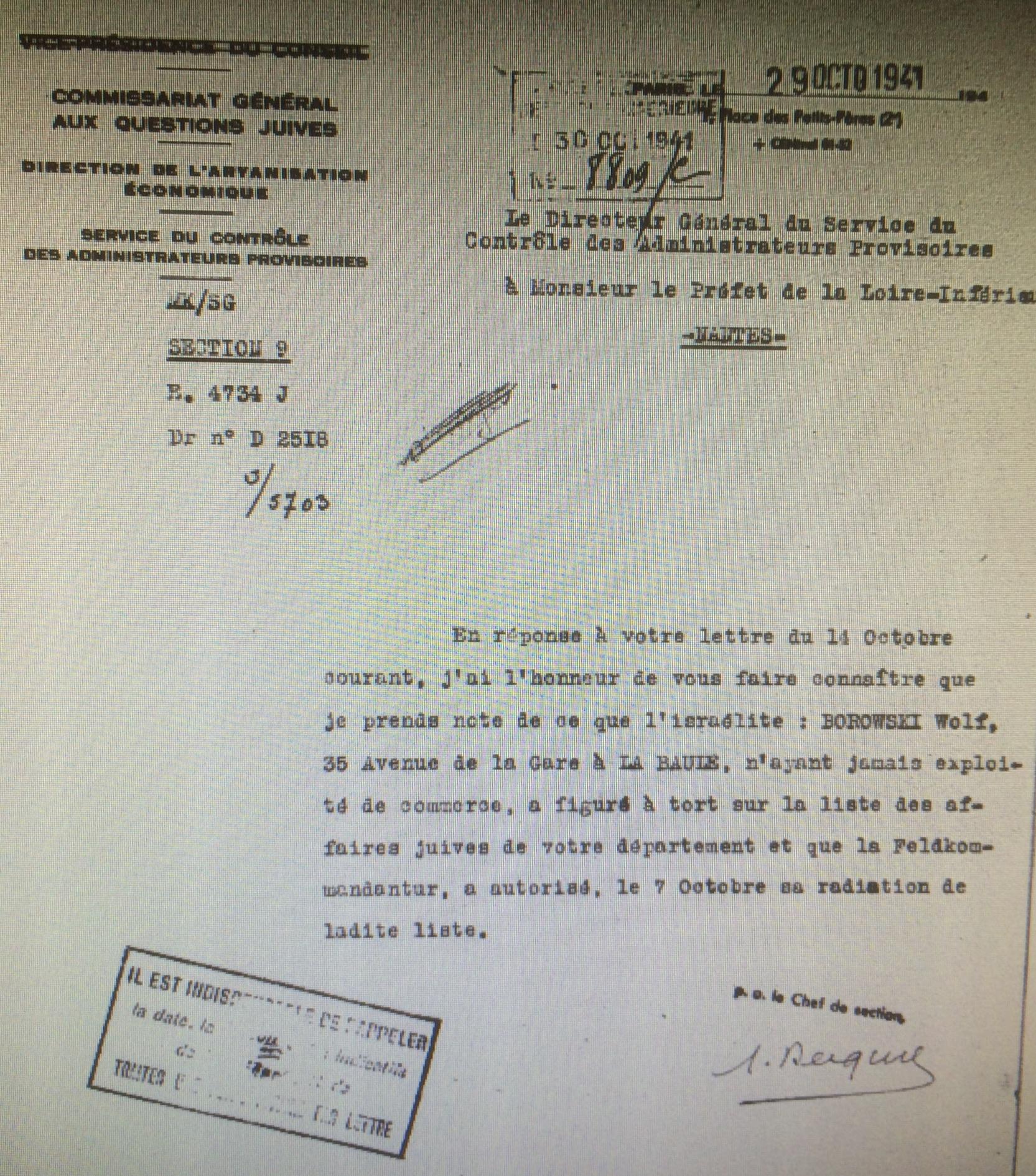 Dossier d'aryanisation Wolf BOROWSKI [Archives Nationales, AJ38/4600 dossier n°9563]