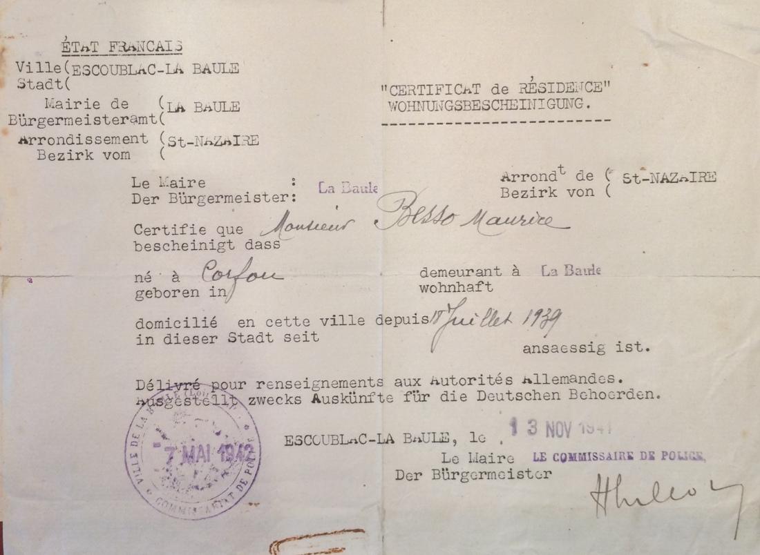 Certificat de résidence de la famille BESSO [ADML 120W58]
