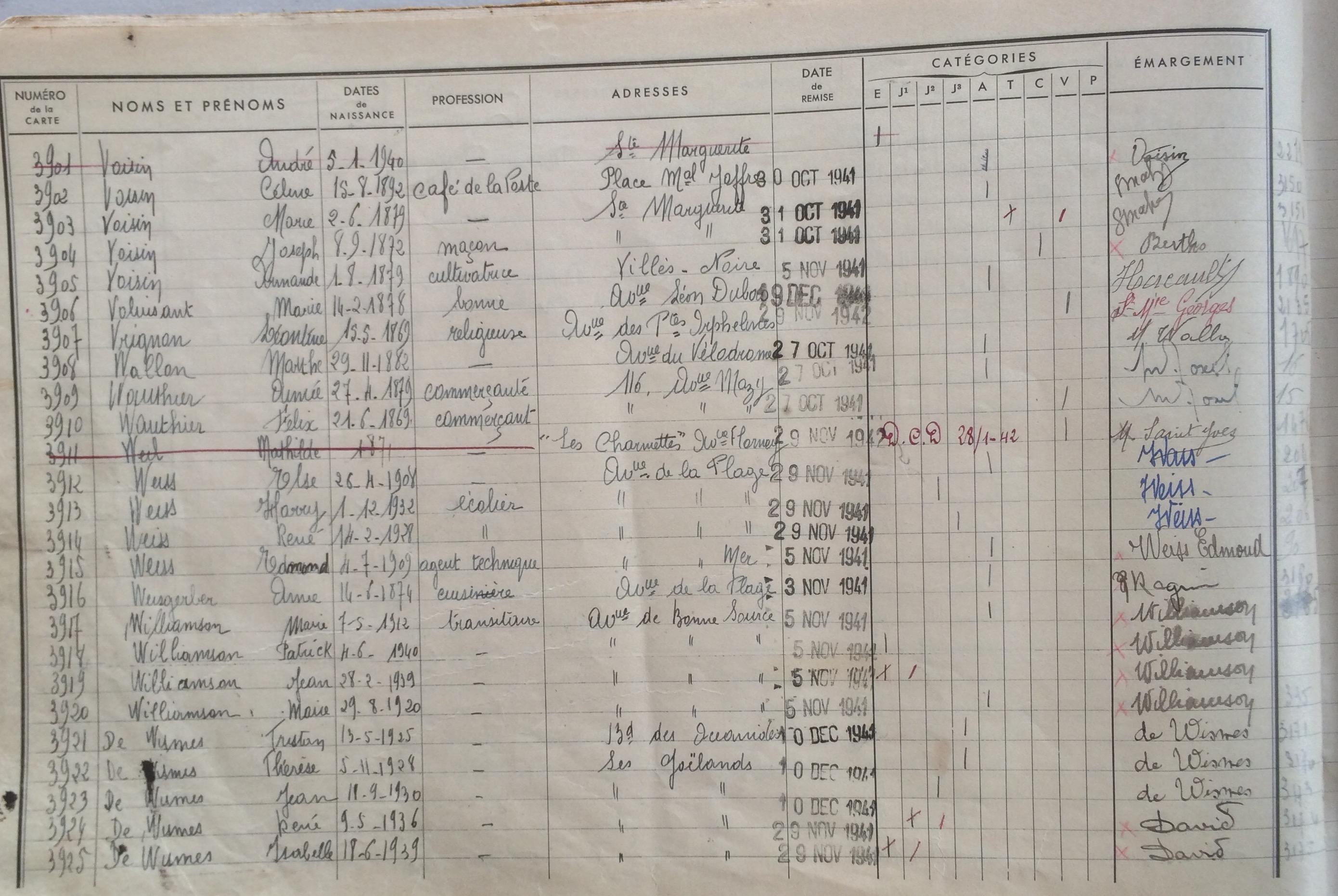 Registre de distribution des cartes d'alimentation [Archives Municipales de Pornichet]