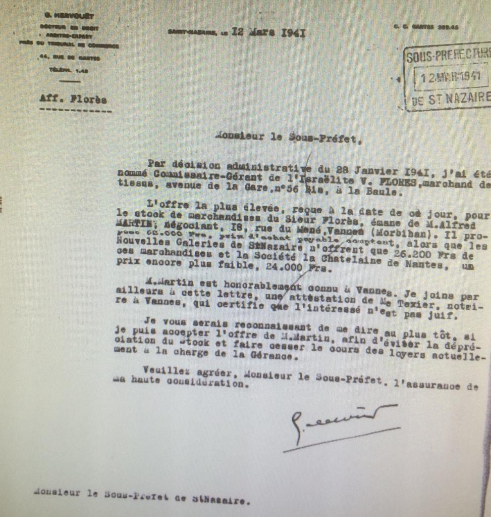 Dossier d'aryanisation de Haïm FLORES [Archives Nationales AJ38/4598 dossier n°2538]