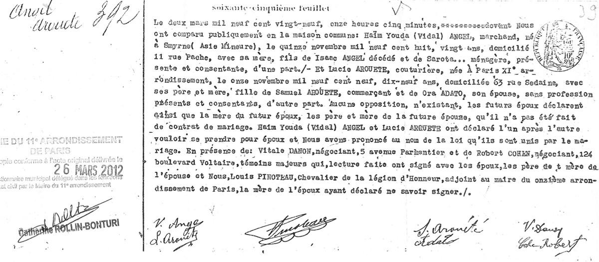 Acte mariage ANGEL/AROUETE [Archives Municipales du 11ème arrondissement]