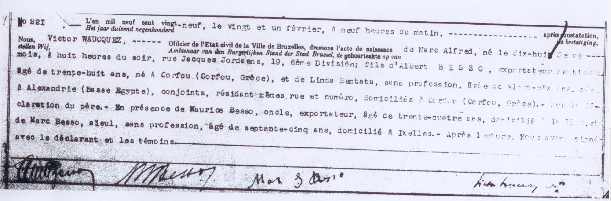 Acte de naissance de Marc BESSO [Etat Civil, Bruxelles]