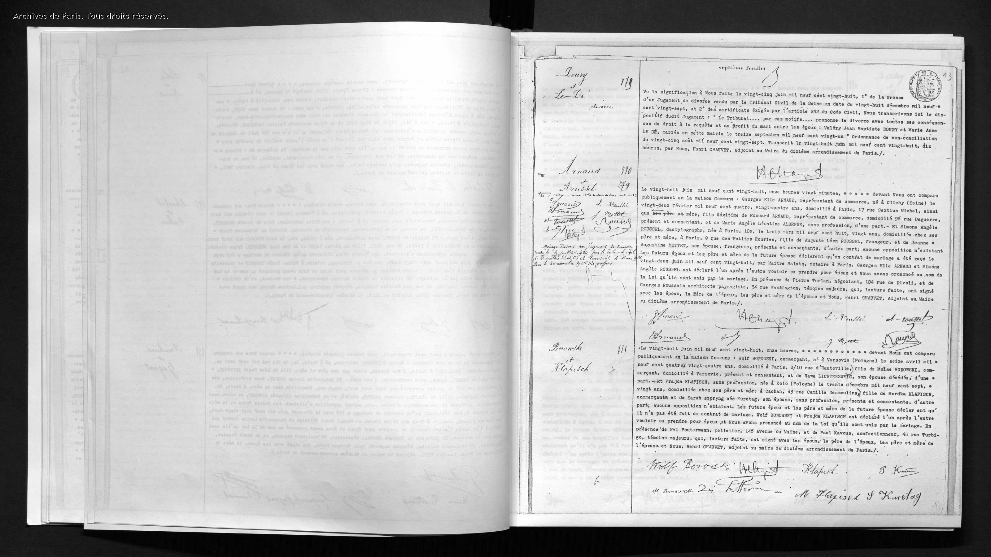 Acte de mariage [Archives de Paris, 10M412]