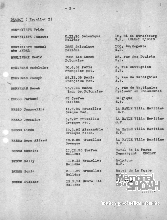Liste convoi 45 [CDJC, Mémorial de la Shoah, en ligne]
