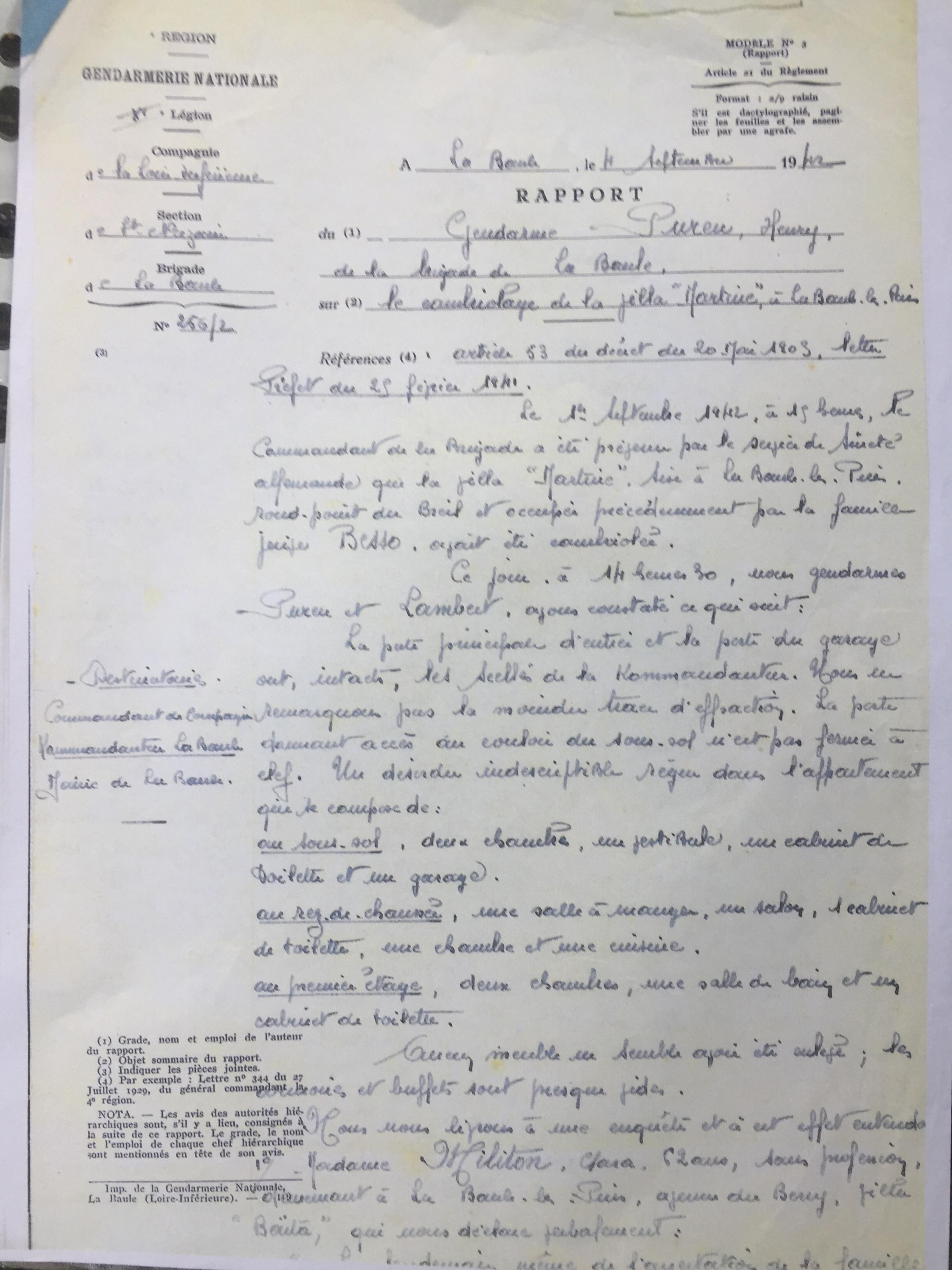 Rapport de Gendarmerie 04 septembre 1942 [Archives Municipales de La Baule]