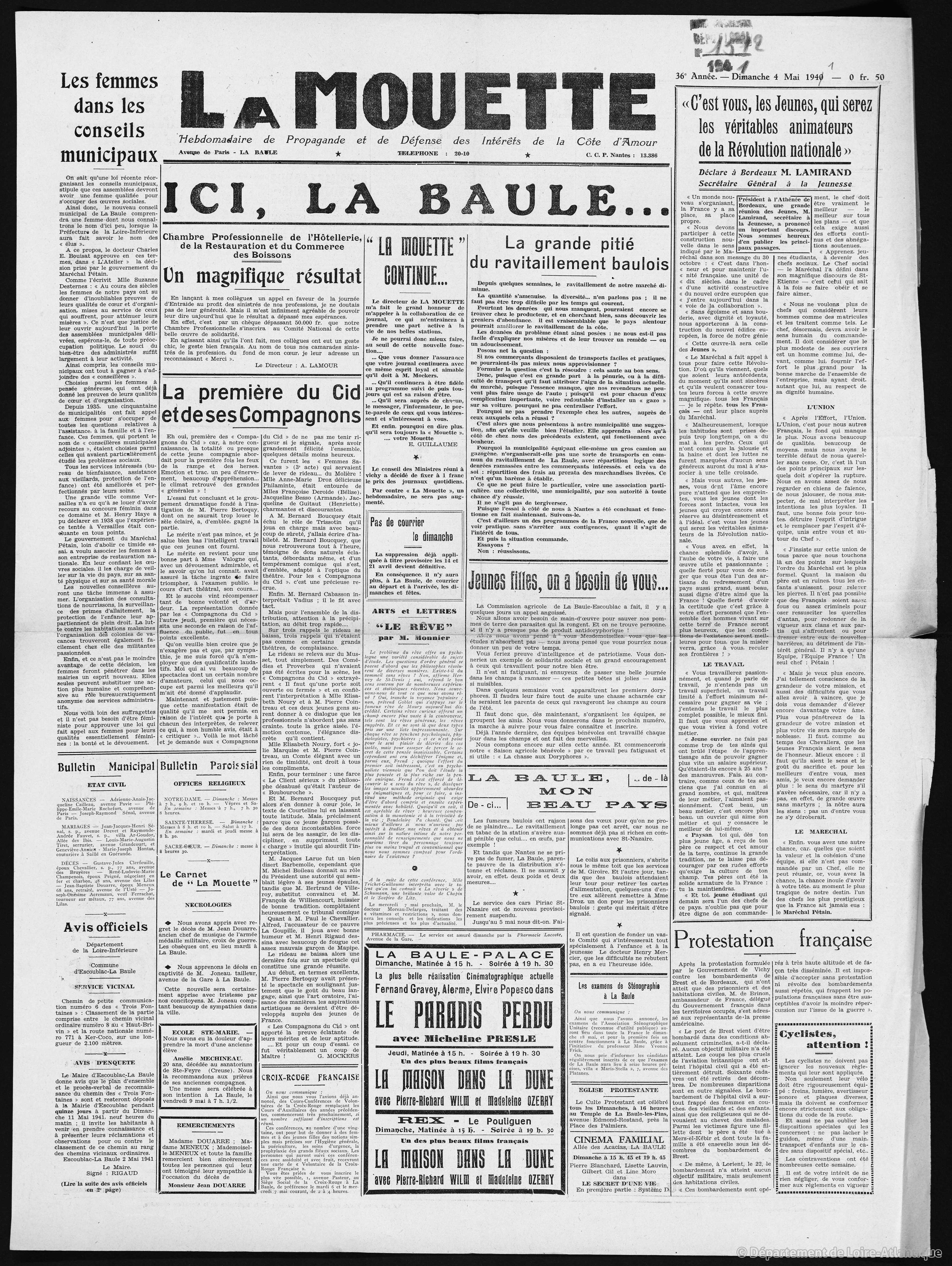La Mouette 04 mai 1941 [ADLA, presse en ligne]