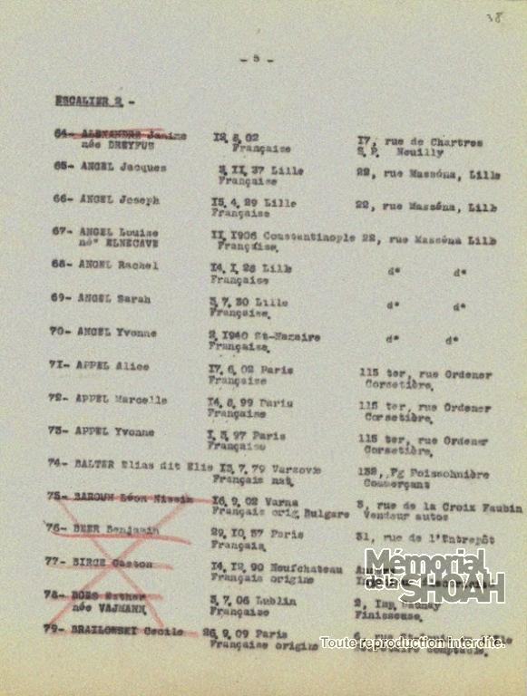 Liste convoi 34 18 septembre 1942 [CDJC, Mémorial de la Shoah, en ligne]