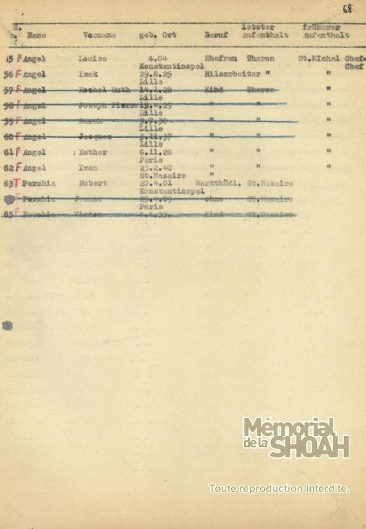 liste convoi 8 [CDJC, Mémorial de la Shoah Paris]