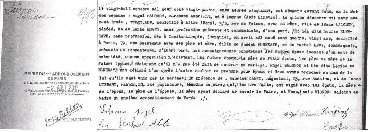 Acte de Mariage de Salomon et Léa ANGEL [Archives Municipales de la mairie de Paris]