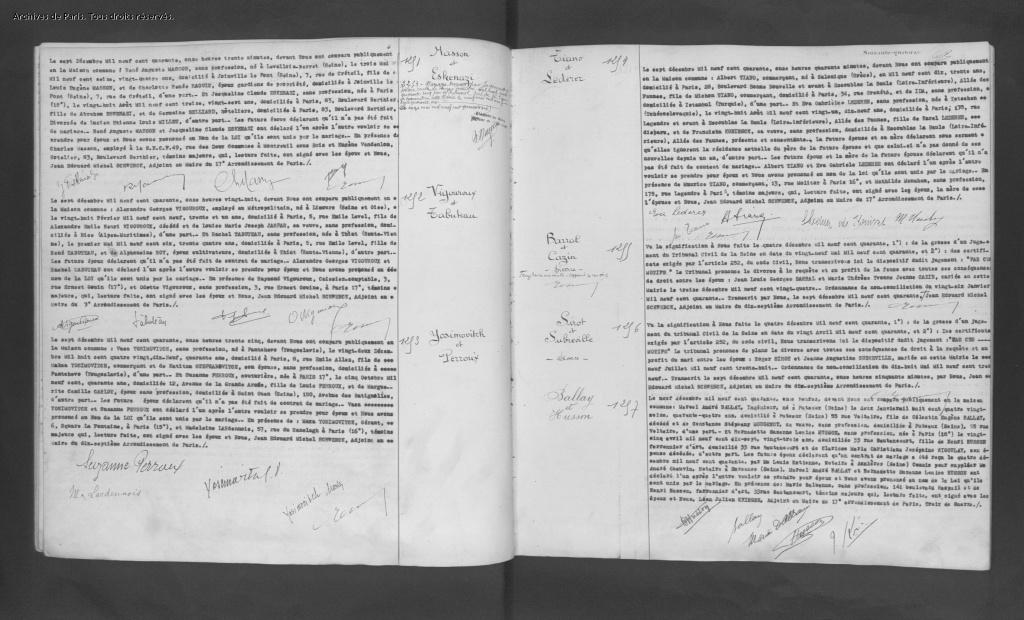 Acte de mariage d'Albert TIANO et Eva LEDERER [Archives Municipales de Paris, 17M480]