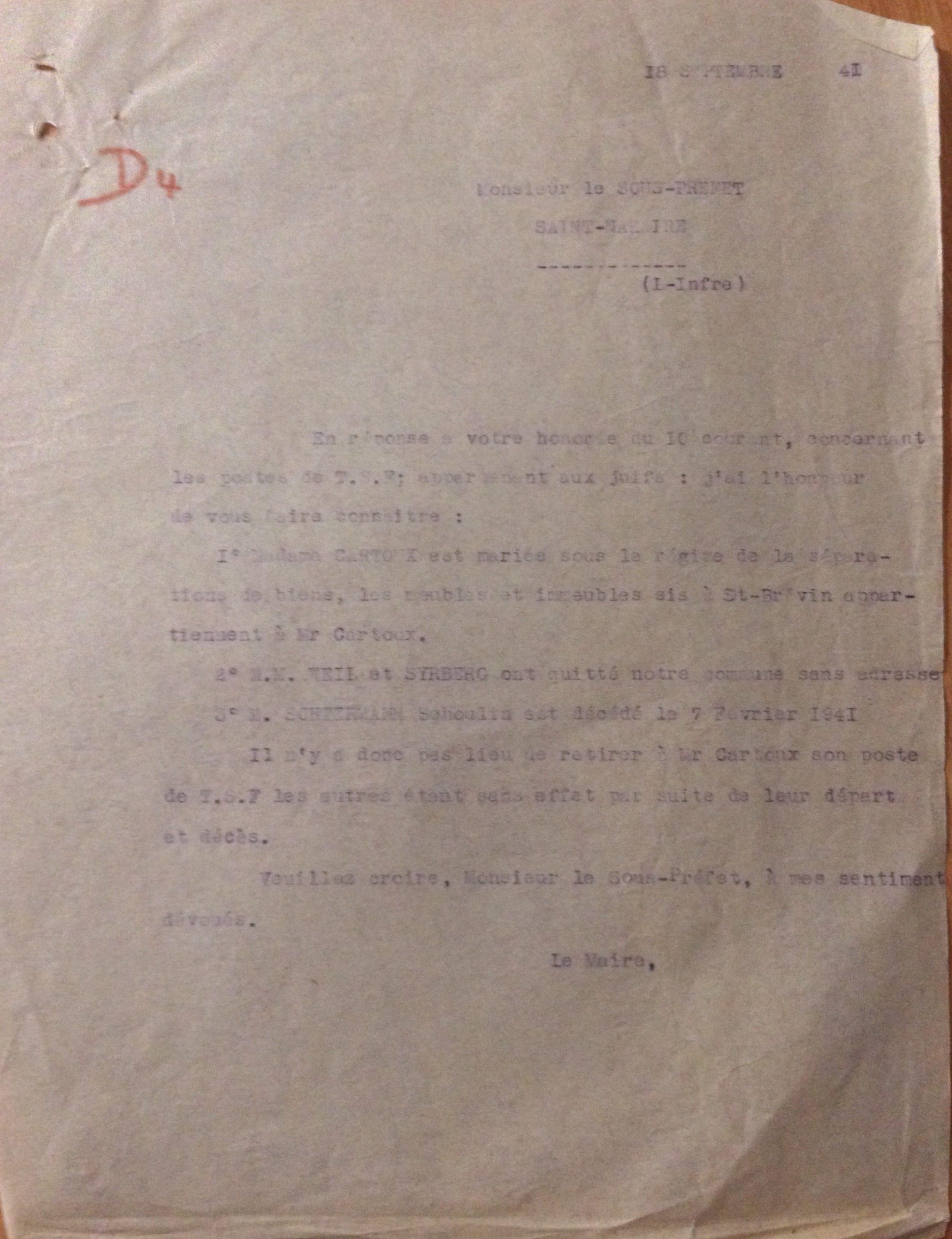 Courrier du Maire de Saint-Brévin au Sous-Préfet sur la situation des postes de TSF des Juifs sur la commune au 18 septembre 1941 [Archives Municipales de Saint-Brevin, H13]