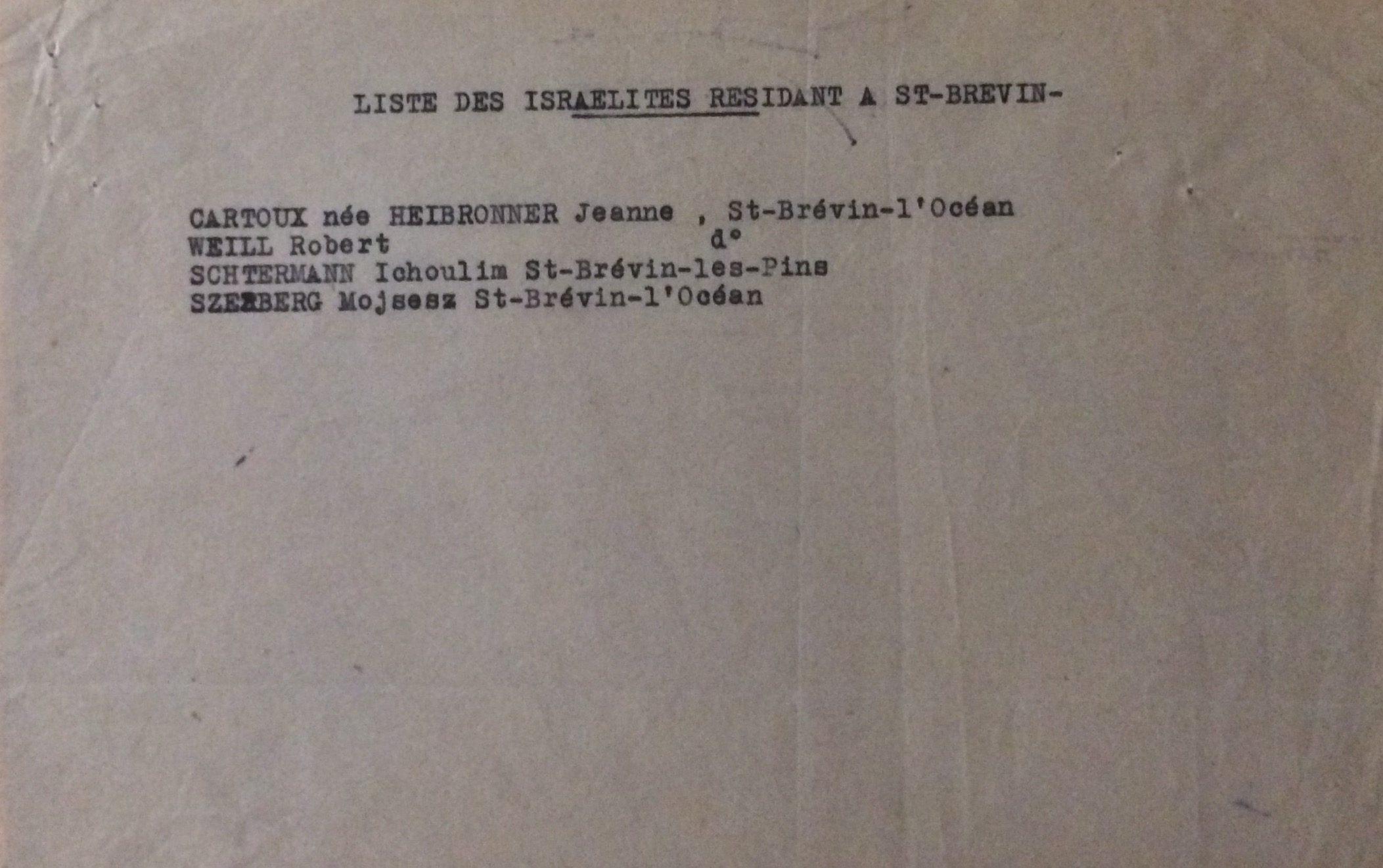 Liste des Israëlites résidant à Saint-Brévin non daté [Archives Municipales de Saint-Brevin, H13]