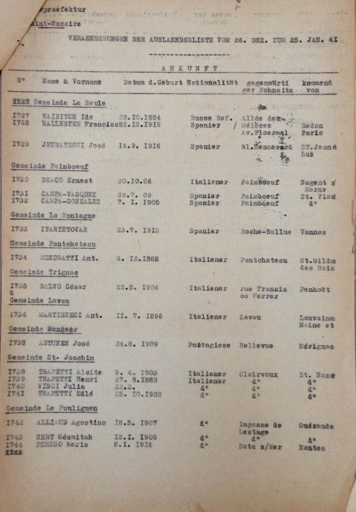 Contrôle de déplacement des étrangers janvier 1941 [ADLA 1803W106]