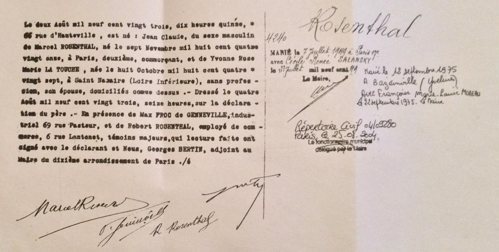 Acte de naissance de Jean-Claude ROSENTHAL [Archives Municipales Paris]