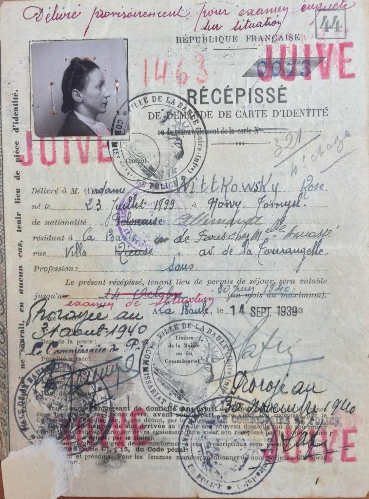 Dossier d'étranger de Rose WITTKOWSKY [4M933]