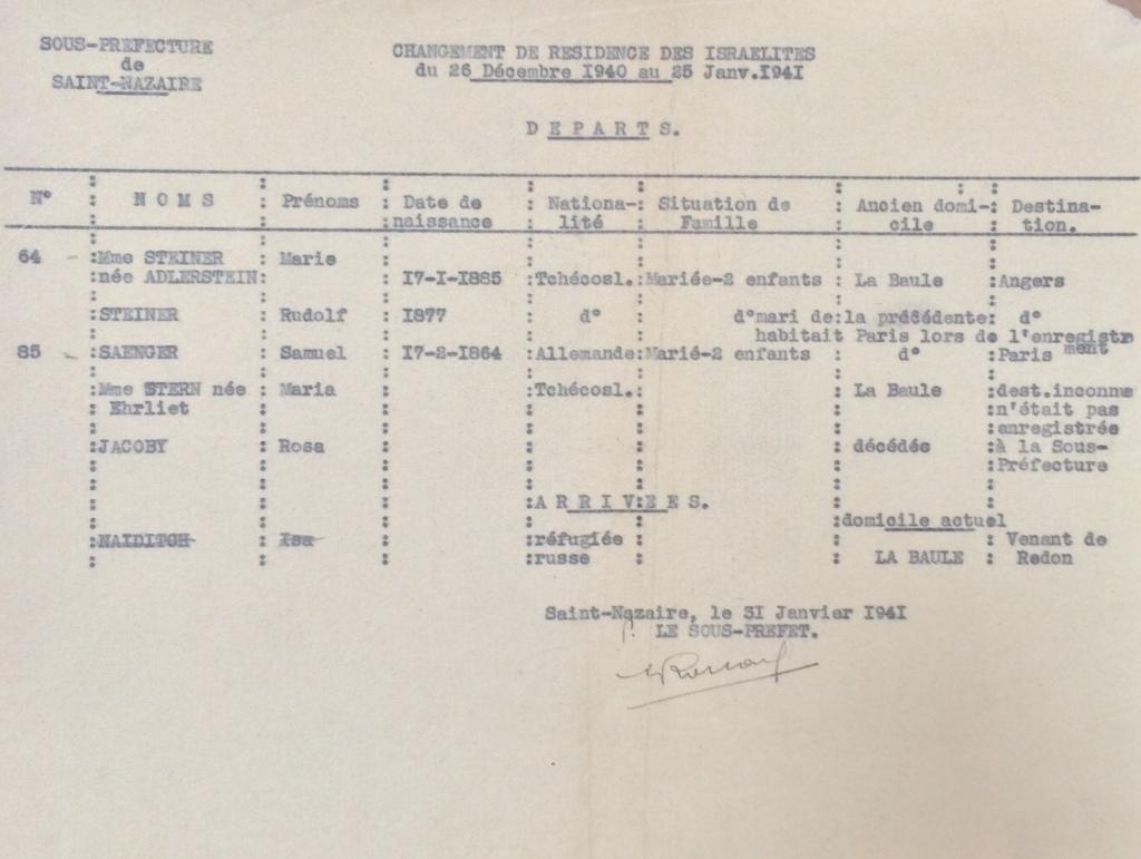 contrôle de déplacement des Israélites Janvier 1941 [ADLA 1694W25]