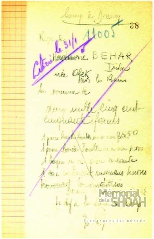 Carnet de fouilles Drancy [CDJC, Mémorial de la Shoah, en ligne]