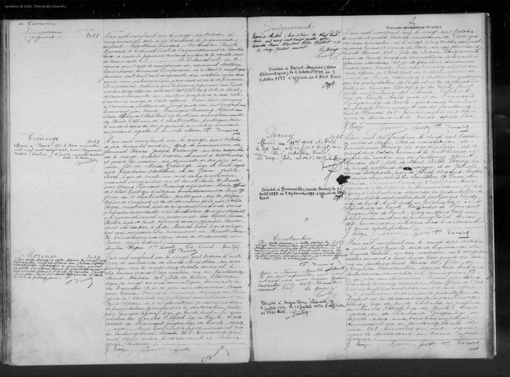 Acte de naissance de Pierre CREANGE [Archives Municipales Paris, en ligne]