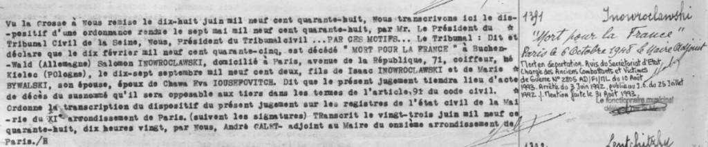 Acte de décès de Salomon INOWROCLAWSKI [Archives de Paris, 11D353]