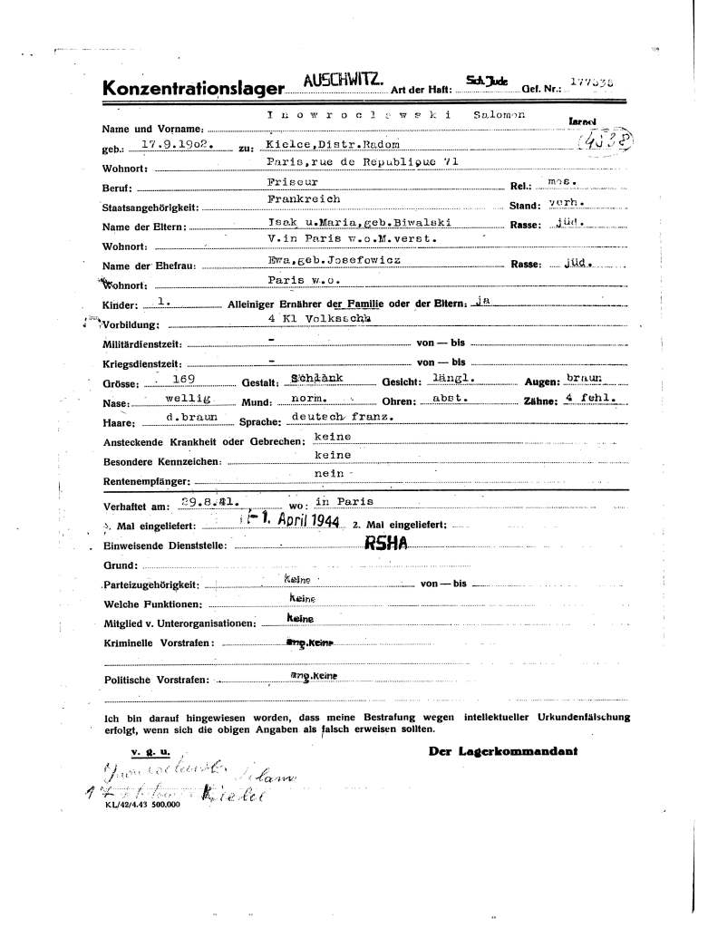 Prisoner registration forms from Auschwitz : https://www.ushmm.org/online/hsv/source_view.php?SourceId=21303]