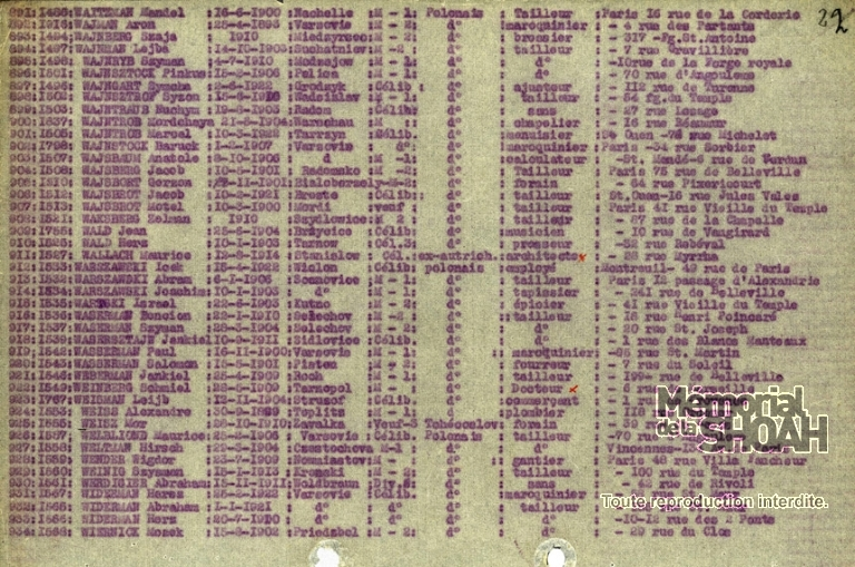 Liste convoi n°4 [CDJC, Mémorial de la Shoah, en ligne]