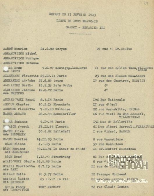Liste convoi 63 [CDJC, Mémorial de la Shoah, Paris]