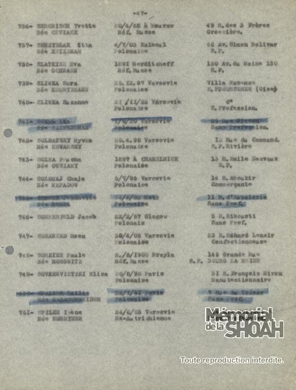 Liste convoi 12 [CDJC, Mémorial de la Shaoh, en ligne]